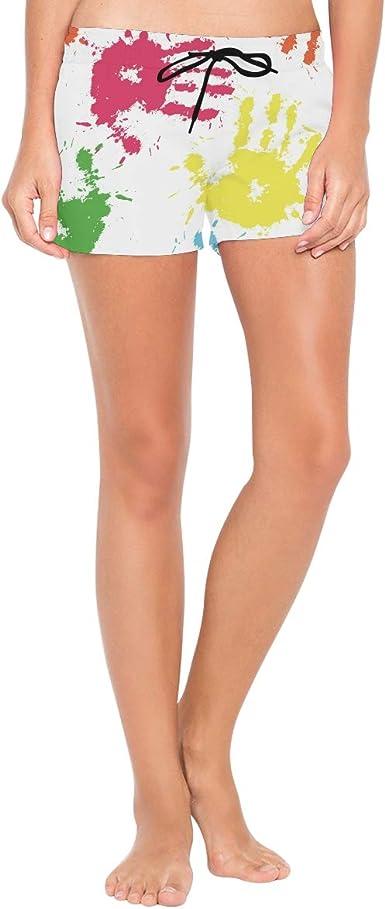 FANTAZIO Pantalones Cortos de Playa con Tinta Colorida ...