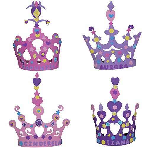 Wilde Tyke Girls Tiara and Crown Crafts Kit (12 Pack, 400 Foam Pieces) Princess Party Favor for Kids (TM) -