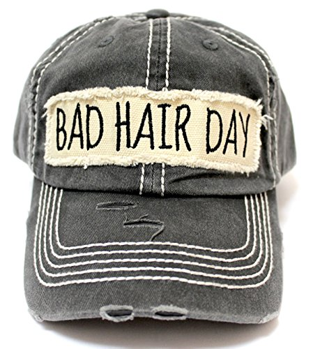 Women's Hat Bad Hair Day Embroidery Patch on Distressed Cap, Graphite Black -