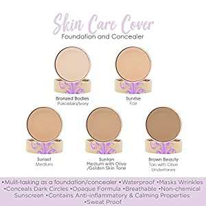 The Best Waterproof Full Coverage Vegan Foundation, 1.7 oz. Gluten Free, Cruelty Free, Fragrance Free Foundation. Conceals Rosacea, Eczema, Acne, Tattoos, Scarring & Masks Wrinkles. (Sunset-Beige)