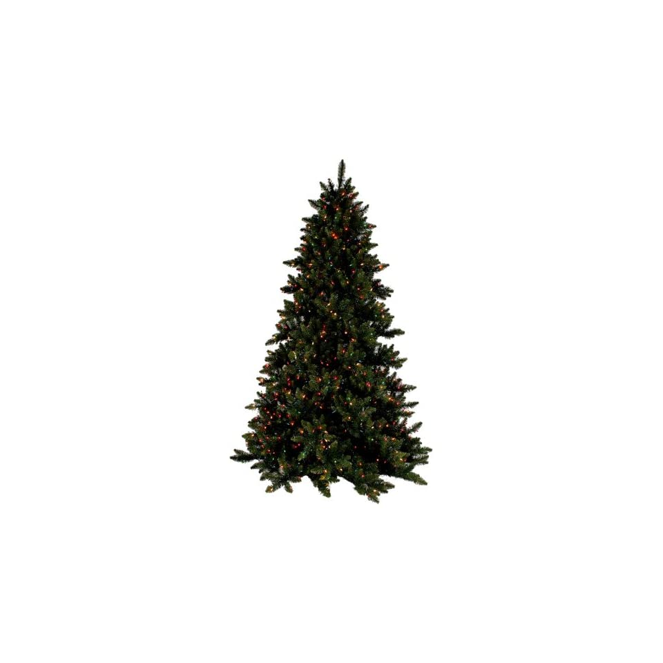 PRE LIT DELUXE LAYERED SPRUCE CHRISTMAS TREE   9 TALL   MULTI COLOR LIGHTS