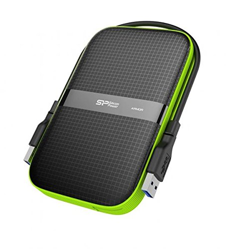 1TB Silicon Power Armor A60 Shockproof Portable Hard Drive - USB3.0 - Black/Green Edition by Silicon Power