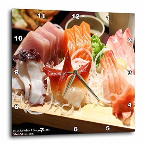 3dRose dpp_61667_3 Shrimp and Tuna with Calif Roll Sushi Plate Gifts Wall Clock, 15 by 15-Inch