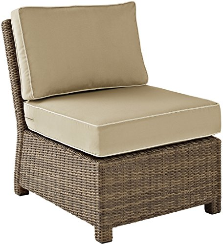 Crosley Furniture Bradenton Outdoor Wicker Sectional Center Chair with Cushions - Sand