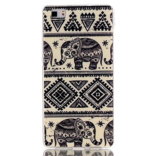 [A4E] Handyhülle passend für Huawei P8 lite aus TPU Silikon, mit Ethno Azteken Inka und Elefant Design Muster (beige, weiß, schwarz)