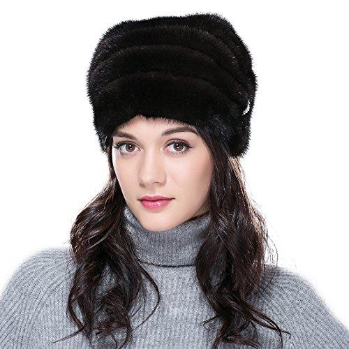 URSFUR Mink Fur Women's Cloche Hat Slouchy Hat Brown