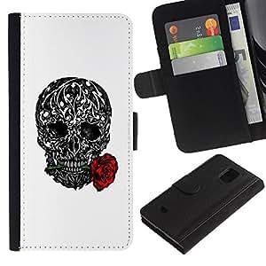 Paccase / Billetera de Cuero Caso del tirón Titular de la tarjeta Carcasa Funda para - Love Rose Ink Tattoo Black White Metal - Samsung Galaxy S5 Mini, SM-G800, NOT S5 REGULAR!