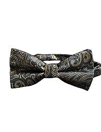 MENDENG Men's Classic Paisley Grey Gold Bow Tie Silk Adjustable Formal Bowties