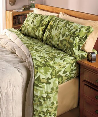 Camo Fleece Full Sheet Sets-Green