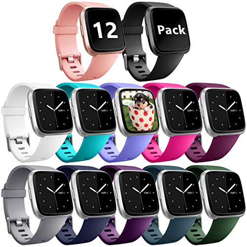 Ouwegaga Compatible for Fitbit Versa Bands Sport Wristbands for Men Women Large 12 Packs