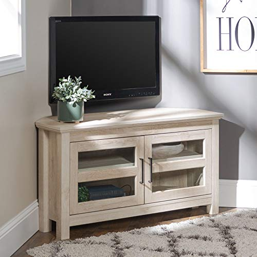 WE Furniture AZQ44CCRWO Modern Farmhouse Wood Corner Stand for TV's up to 48