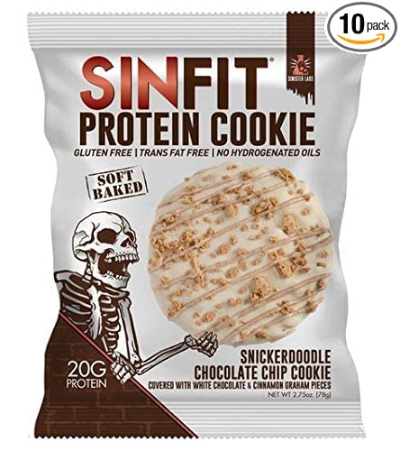 SINFIT Snickerdoodle Chocolate Chip Protein Cookies by Sinister Labs - Soft baked cookie drizzled with white chocolate, packed with 20g of protein - ...