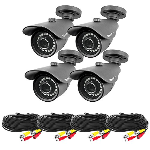 Best Vision 4 Pack High Definition Security Camera – 4pcs 1080P Outdoor AHD Surveillance Bullet Cameras Improved 85 Foot Night Vision – Including Cables Power Supply Units