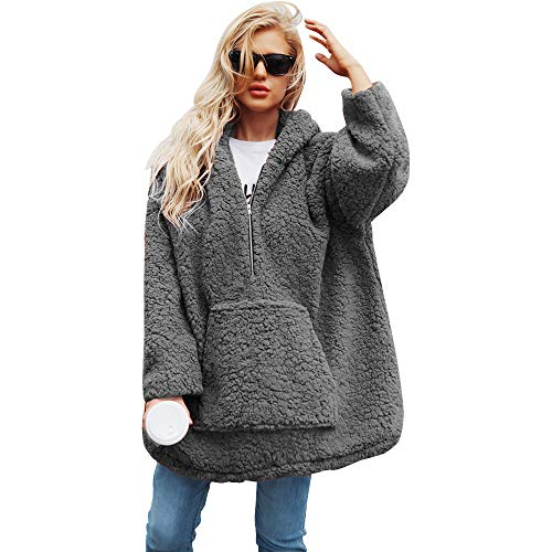 8ffb342a4b8e Moocare Women 1 4 Zipper Hooded Oversize Fluffy Fleece Sweatshirt Solid  Pullover Baggy Overcoat (