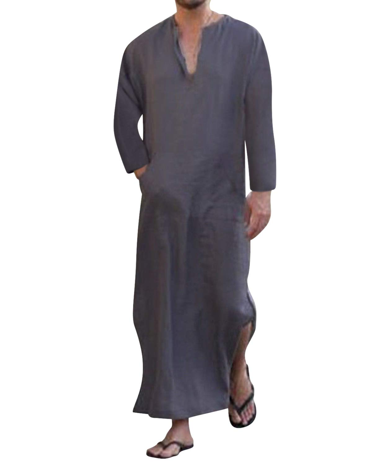 Jacansi Men's V-neck Short Sleeve Side Split Kaftan Cotton Muslim Arabic Thobe S-3XL Jacansi-17CM0000096