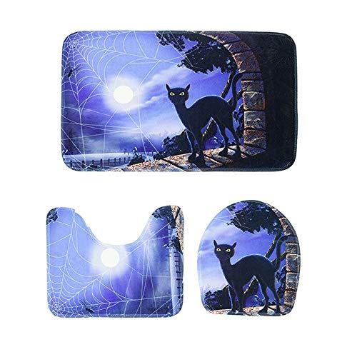 - KIKOY 3pcs Halloween Toilet Mat Bath Mat Bathroom Kitchen Carpet Doormats Decor