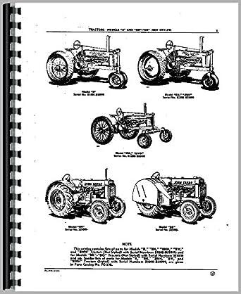 BO de John Deere Tractor partes Manual