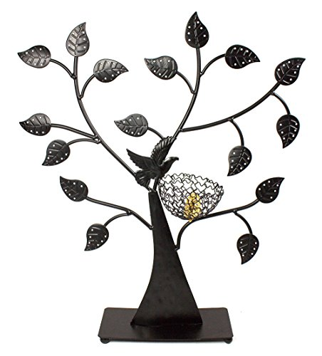 Bejeweled Display®Bird Nest Jewelry Tree Earring Holder~Bracelet Stand~Necklace Organizer Jewelry Display (Black)