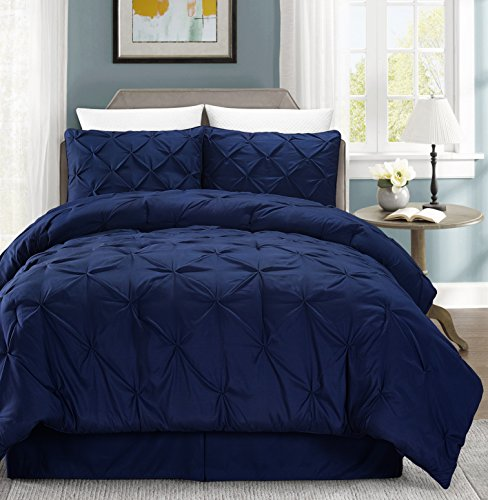Chezmoi Collection 3-piece Pintuck Duvet Cover Set w/Corner Ties (Queen, Navy)