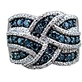 Sinwo Women Elegant Exquisite Diamond Cylindrical Rings Fine Ring Engagement Ring Gift (6, Blue)