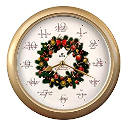 Elegant 14-inch 12 Song of Carols of Christmas Wreath Melody Wall Clock, Sweep Silent Quartz, Home Wall Deco Clock - (WR Gold)