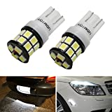 iJDMTOY (2) High Power 20-SMD-2835 168 194 2827 W5W T10 LED Bulbs For Parking Position Lights or License Plate Lights, Xenon White