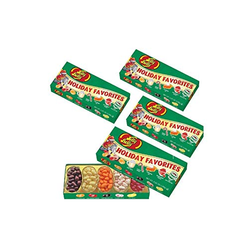(Set/4) Jelly Belly Christmas Holiday Favorite Flavored Candy Beans Gift Box (Eggnog Jelly Beans)
