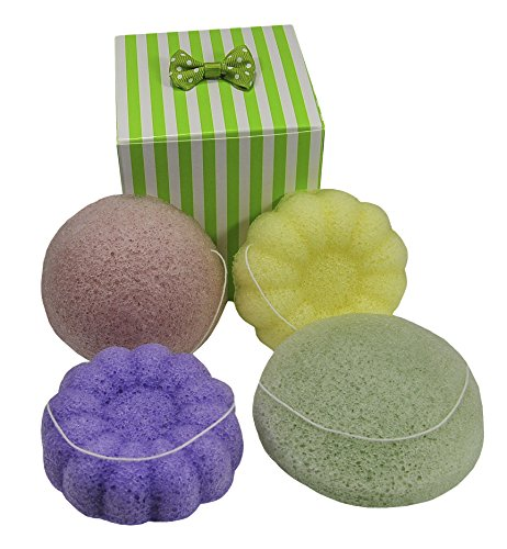 Premium Quality Set of 4 Konjac Sponges: 1 Lavender Flower, 1 Lemon Flower, 1 Green-Tea Round & 1 Tomato Half-Ball. 100% Pure & Natural - Gift Wrap, Suction Cups & String Included