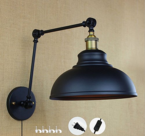 Kiven vintage wall lamp with plug 1.8m black switch line bulb include(BD0197)