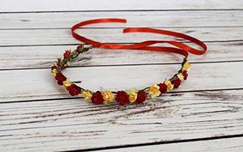 Handcrafted Red and Yellow Flower Crown - Belle Birthday Accessory - Belle Headband - Rose Halo - Red and Yellow Wedding - Flower Girl Crown
