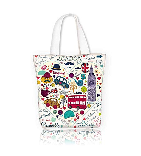 Ladies canvas tote bag London symbols and hand lettering main place in town reusable shopping bag zipper handbag Print Design W12xH14xD4.7 INCH ()