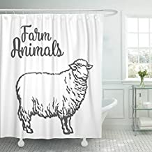 MAYTEC Shower Curtain Gray Lamb White Sheep Sketch Drawn on Light Farm Animals Cloven Hoofed Livestock with Thick Fur Hand Waterproof Polyester Fabric 72 x 72 inches Set with Hooks