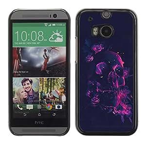 rígido protector delgado Shell Prima Delgada Casa Carcasa Funda Case Bandera Cover Armor para HTC One M8 /Neon Rose Pink Skull/ STRONG