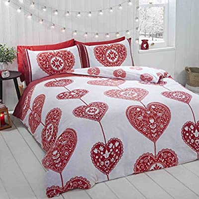 NORDIC CHRISTMAS REINDEER RED WHITE 100/% BRUSHED DOUBLE DUVET COVER