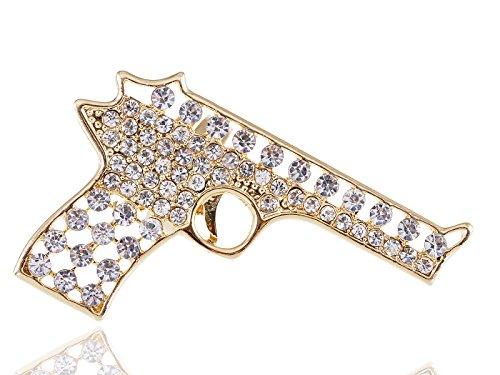 Alilang Adjustable Clear Crystal Colored Rhinestones Cutout Gun Pistol Ring (Gold)]()