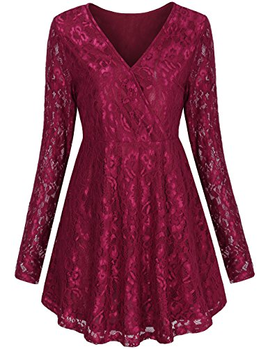 Red Lace Top,LNIMIKIY Christmas Day Female Girls Elegant Lace Floral Tunic Tops for Leggings for Women Plus Size Shirts for Party Night Club Holiday,Red (Cheap Teenage Girls Clothes)