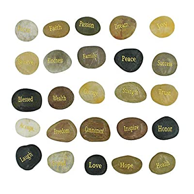 25 Engraved Inspirational Stones with Words of Encouragement – Gold Engraved Stones for Worry Stones, Affirmation Stones, Meditation Stones, Gift Rocks with Inspirational Words of Prayer, Velvet Bag : Garden & Outdoor