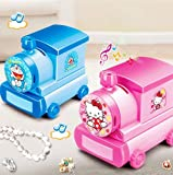 Royarebar Creative Baby Toys Music Boxes Vogue Cartoon Train Music Box Piggy Bank with Makeup Mirror Craft Decoration For Children Gift-Pink Cat