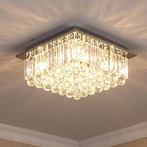 (Saint Mossi Modern K9 Crystal Raindrop Chandelier Lighting Flush Mount LED Ceiling Light Fixture Pendant Lamp for Dining Room Bathroom Bedroom Livingroom G9 Bulbs Required H7