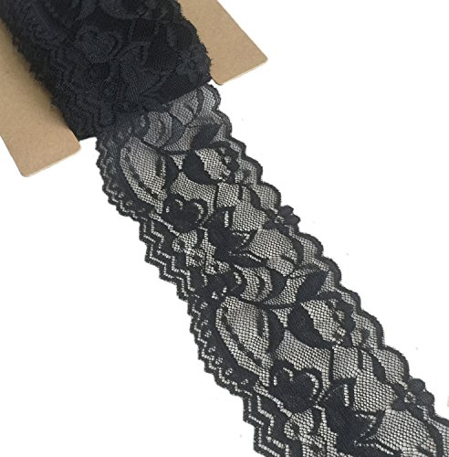 (Lace Realm 2″×20 Yards Stretch Floral Pattern Lace Ribbon Trim Lace for Headbands Garters Decorating Floral Designing & Crafts (Black))