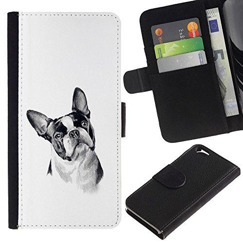 LASTONE PHONE CASE / Luxe Cuir Portefeuille Housse Fente pour Carte Coque Flip Étui de Protection pour Apple Iphone 6 4.7 / Boston Terrier Black White Art Dog