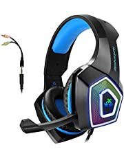 Gaming Headset with Mic for Xbox One/PS4/PS5/PC/Tablet/ Smartphone, Stereo Headphones Over Ear Bass 3.5mm Microphone Noise Canceling with 7 LED Light and Soft Memory Earmuffs