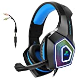 Gaming Headset with Mic for Xbox One PS4 PC Switch Tablet Smartphone, Headphones Stereo Over Ear Bass 3.5mm Microphone Noise Canceling 7 LED Light Soft Memory Earmuffs(Free Adapter): more info
