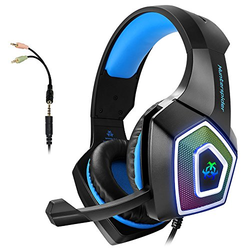 Mic Headset (Gaming Headset with Mic for Xbox One PS4 PC Nintendo Switch Tablet Smartphone, Headphones Stereo Over Ear Bass 3.5mm Microphone Noise Canceling 7 LED Light Soft Memory Earmuffs(Free Adapter))