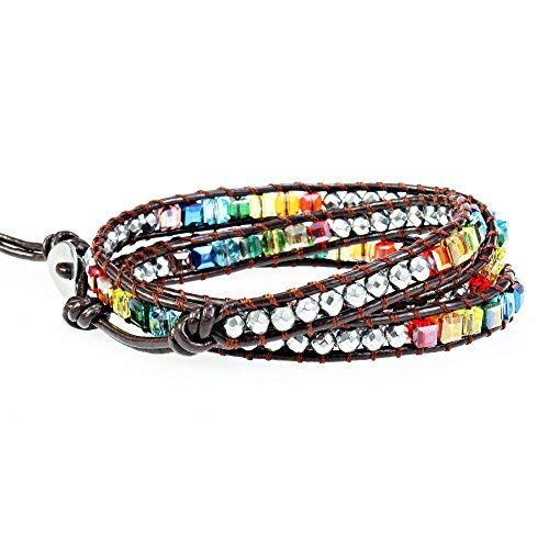 786acbec6 Amazon.com: YHY Handmade Multicolour 7 Chakra Balancing Crystal Bead with Hematite  Stone Wrap around Leather Bracelet for Women Adjustable: Jewelry