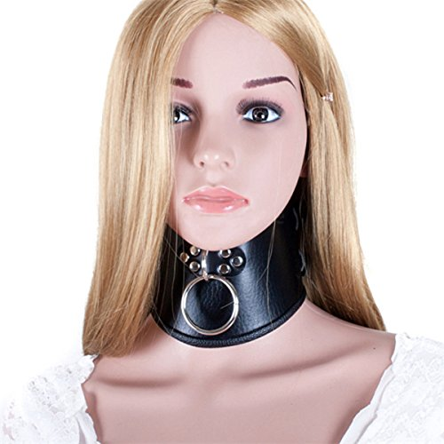 Locking Posture O Ring Collar- Davidsource Black Faux Double Leather Neck Belt Adjustable Lockable Choker Collar Restraint Head Harness BDSM Adult Sex Toy by Davidsource