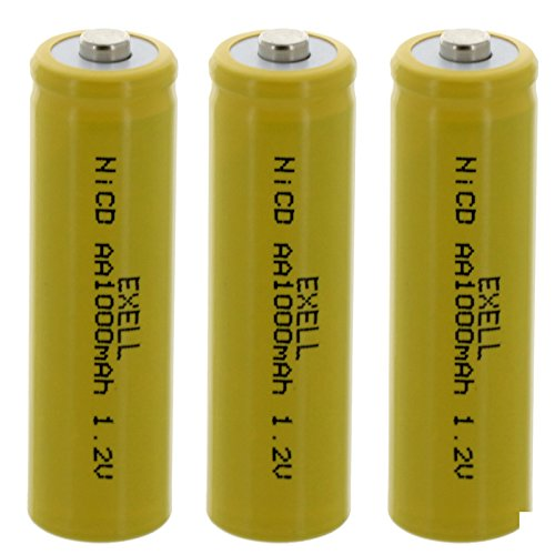 3x Exell AA 1.2V 1000mAh NiCD Button Top Rechargeable Batteries For Malibu Garden Lights, Solar LED Lights, Outdoor Stake Lights