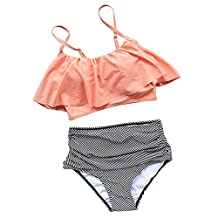 Seaselfie Women's Retro High-waisted Push Up Halter Padded Beach Bikini Bathing Suit