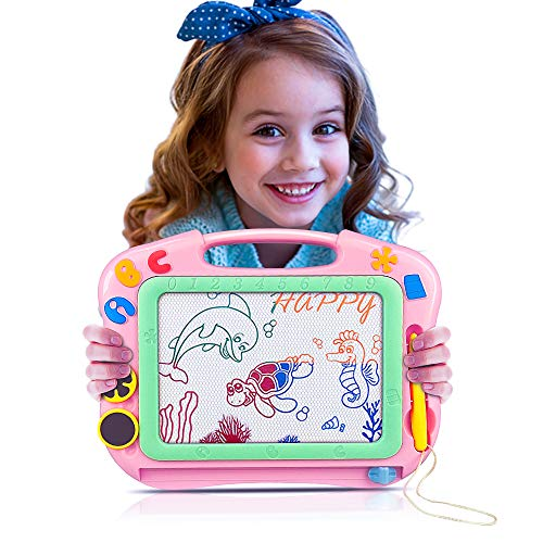 Tesoky Learning Toys for Kids Age 3-8, BB Drawing Pad for Kids Magnetic Drawing Board for Kids Fun Toys for 1-4 Year Old Girls Boys Birthday Gifts for Girls Age 1-4 (Pink B) GGPB