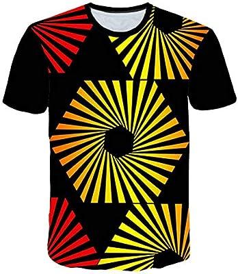 RCFRGV Camiseta 3D Camiseta 3D Masculina Camiseta de Diamantes de Moda Camiseta Fresca con Parches Geometry Rayas Camisetas Tallas Grandes 5XL: Amazon.es: Deportes y aire libre